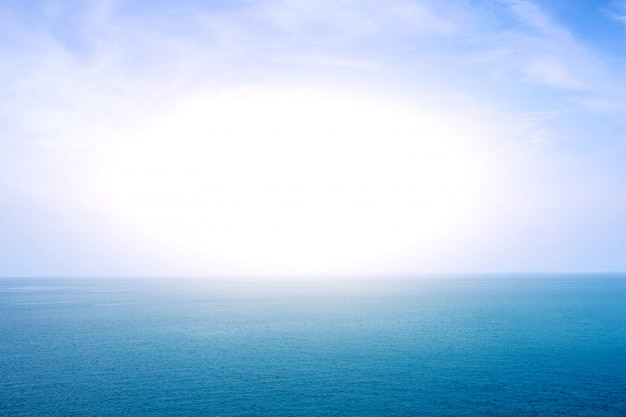 Blue sea or ocean horizon with sunlight