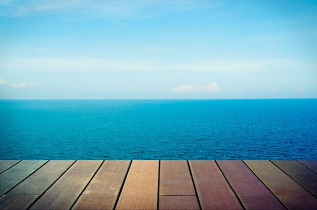 Blue sea and sky background stock