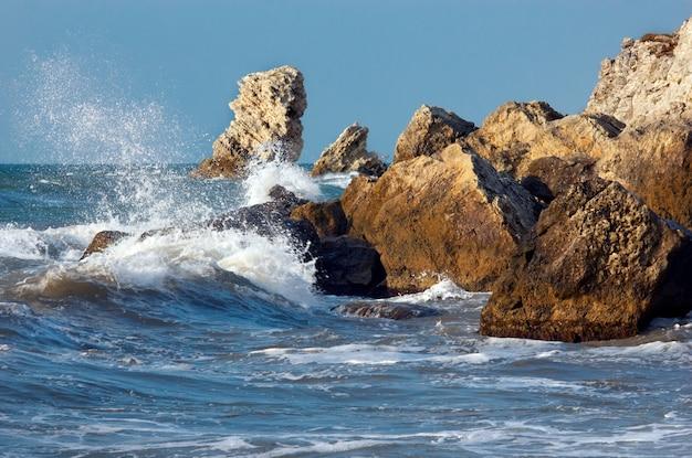Blue sea storming