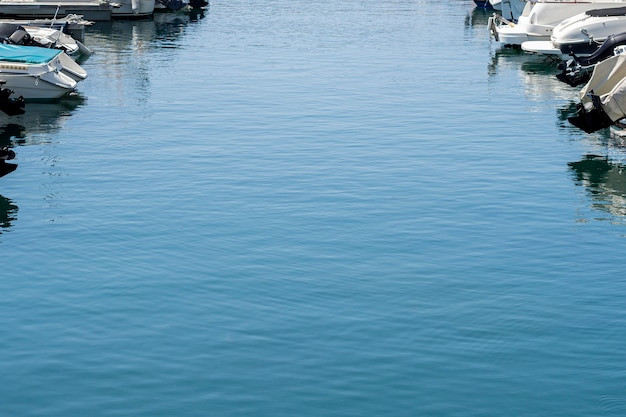 Blue sea water in a harbor