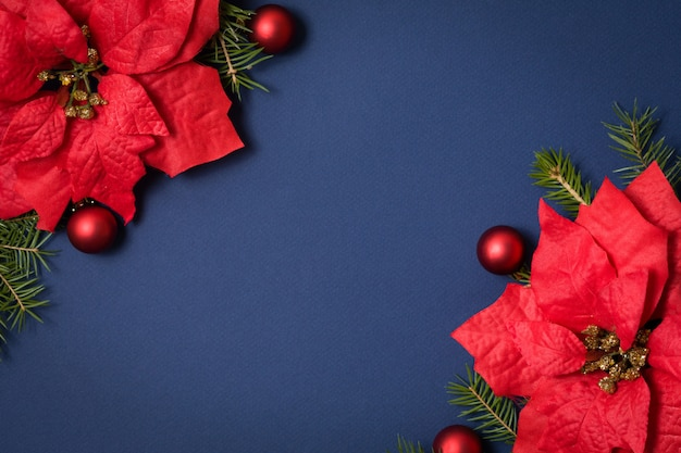 Blue seamless background flat lay with christmas decoration