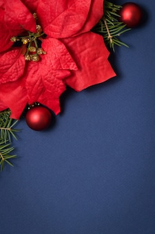 Blue seamless background flatlay,christmas decoration,fir frame.