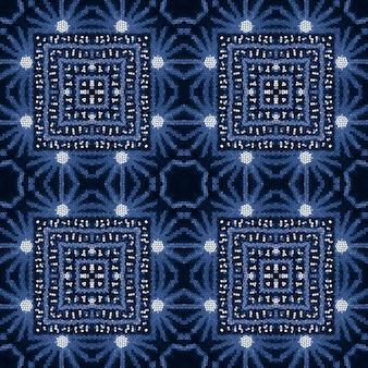 Blue seamless pattern in oriental style. indigo denim white colors. bohemian print.
