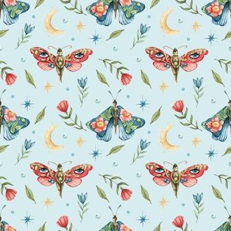 Синий бесшовный узор с изображением цветов, красных и синих бабочек-девушек, луны и звезд