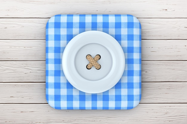Blue sewing button over blue tartan fabric box icon on a plank wooden table. 3d rendering