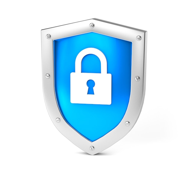 Blue shield and gold lock concept double protection privacy of information or data isolated