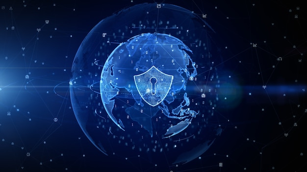 Blue shield icon of cyber security digital data background