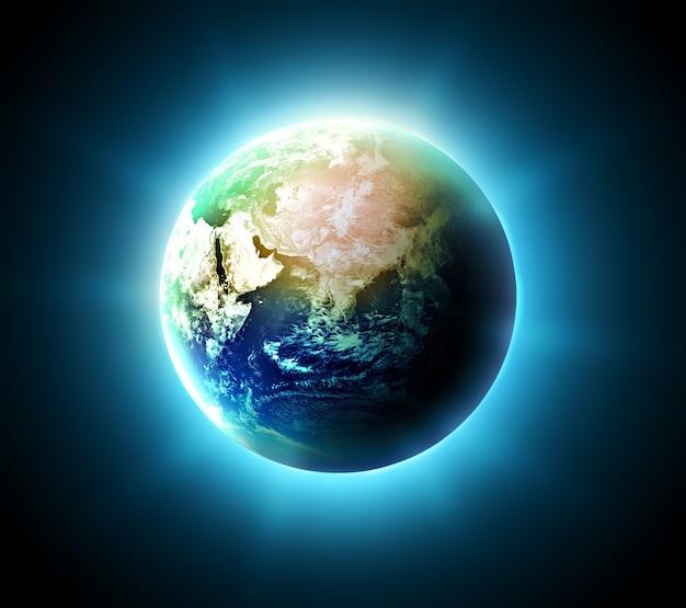 暗い背景に青い輝く世界
