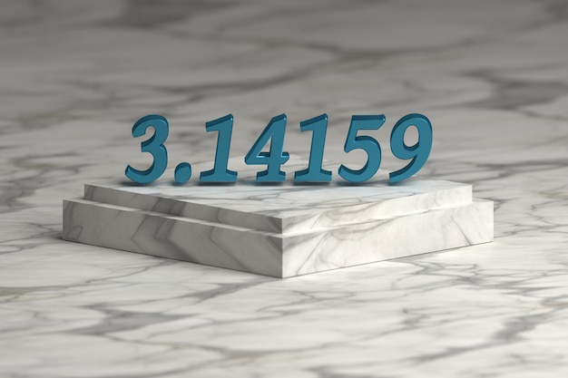 Blue shiny metallic pi number digits over marble pedestal podium . mathematics concept.