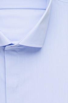 블루 셔츠, 상세한 클로즈업 칼라 및 버튼, 평면도