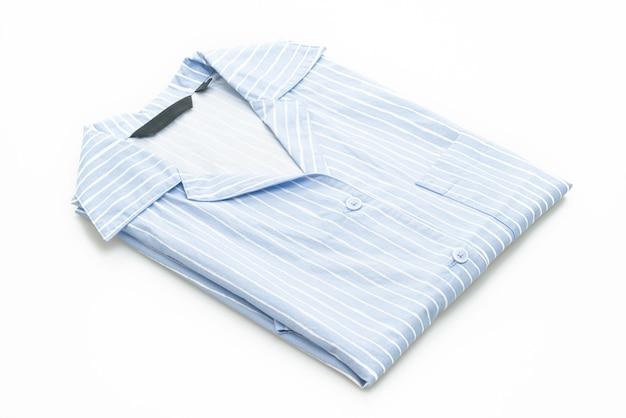 흰색 배경에 고립 된 흰색 스트립과 파란색 셔츠