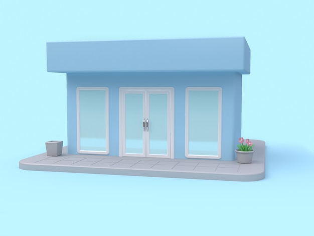 Blue shop 3d rendering cartoon style