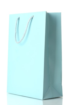 分離された青い買い物袋