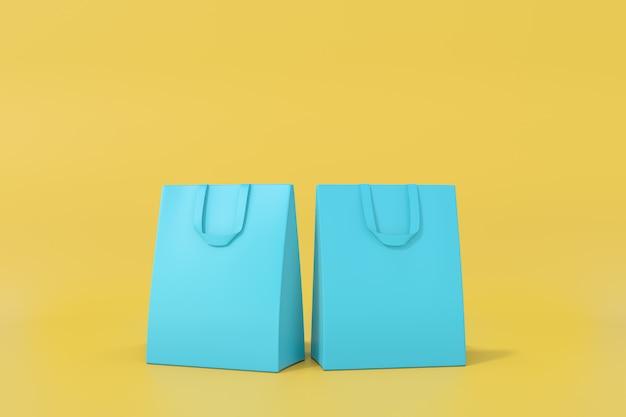 Синяя сумка на желтом фоне.