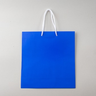 Blue shopping bag one white background