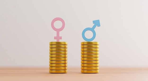 Blue sign of man on coins stacking equality with pink woman sign on coins stacking for equal business human right and gender concept by 3d rendering.