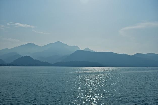 Blue silhouettes of mountains on the aegean coast. turkey