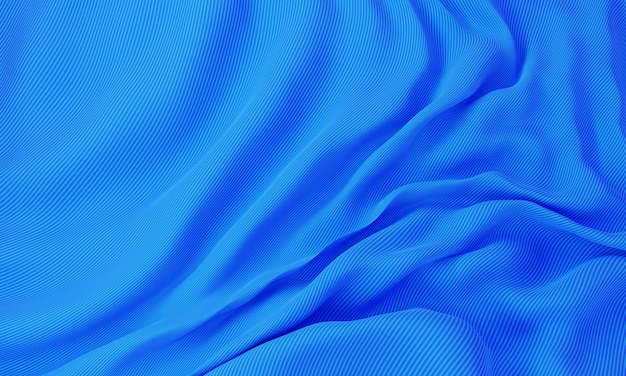 Синий шелковый волнистый фон ткани. абстрактные и украсить концепцию обоев. визуализация 3d-иллюстраций