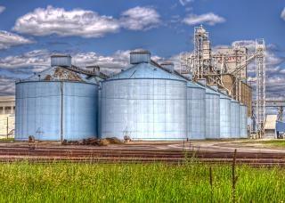 Blue silos