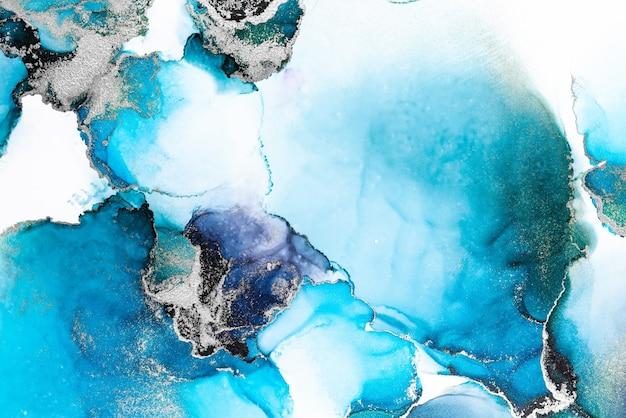 Синий серебряный абстрактный фон мраморной жидкой туши художественной росписи на бумаге.