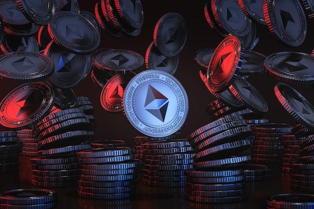 Синие серебряные монеты ethereum (eth), падающие сверху на черную сцену, монета с цифровой валютой для финансовых операций, продвижение обмена токенов. 3d рендеринг