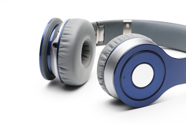 Blue and silver modern headphones for listening to music