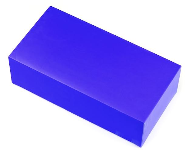 白で隔離の青いシンプルなボックス