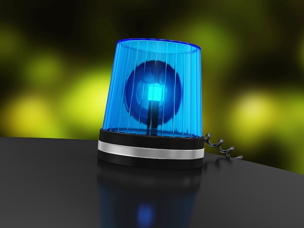 Blue siren on top of police car with bokeh effect behind