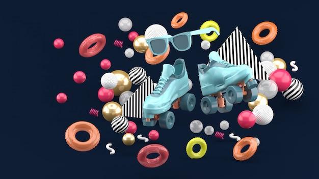 Blue skates shoe and pink glasses amid colorful balls on dark blue. 3d render