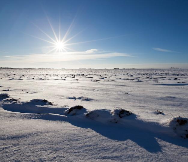 青い空と冬の雪の上に横たわる
