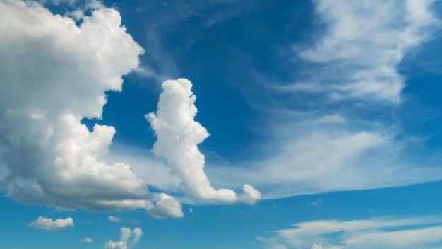 青い空と白い雲。青空の背景にふわふわの雲