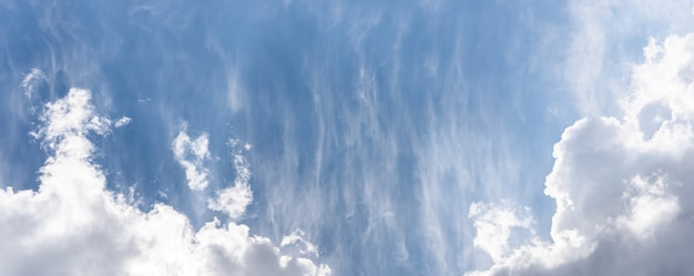 Blue sky background with a fluffy clouds