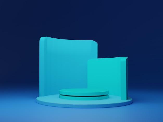 Голубое небо геометрическая сцена минимальный фон абстрактный, 3d рендеринг