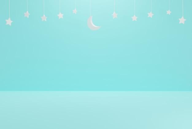 이벤트 휴일 및 기타 3d 일러스트레이션을 위한 이슬람 별이 있는 푸른 하늘 미니멀리즘 초승달
