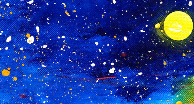 Blue sky and moon watercolor painting on paper abstract background