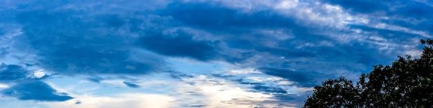 저녁에 나무에 짙은 푸른 구름이 있는 푸른 하늘 파노라마