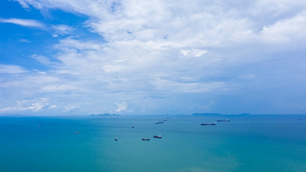 Blue sky and sea with shipping logistics import and export business