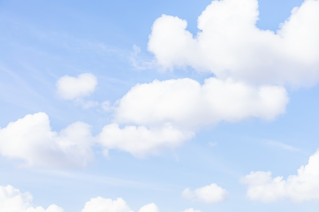 Blue sky and soft white clouds. natural cloudscape background