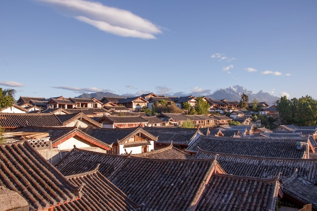 Blue sky traditional retro old naxi house