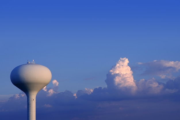 Blue sky with american water tank