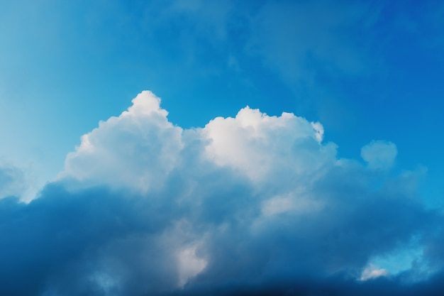 Blue sky with clouds cumulus clouds, evening sky