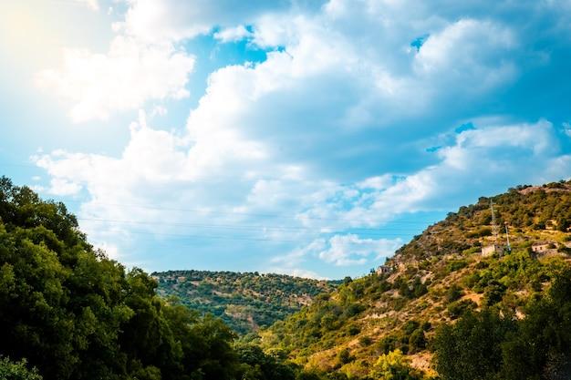 晴れた日に緑の森と山の上の雲と青い空