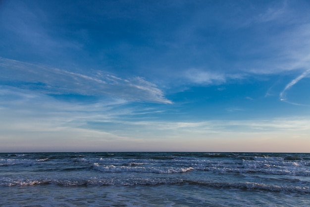 Blue sky with clouds over the sea, sky and sea, beautiful seascape.