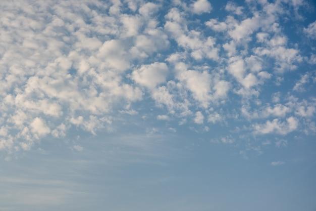 Голубое небо с множеством маленьких белых пушистых облаков