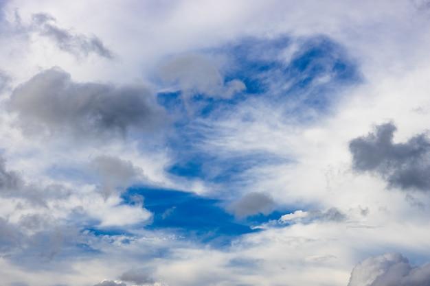 흩어져있는 검은 구름과 푸른 하늘