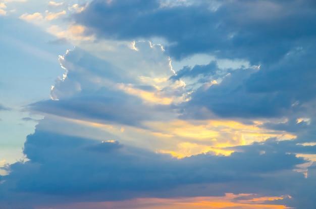 Blue sky with sunset light