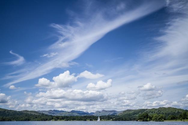 Blue sky with windy cloud