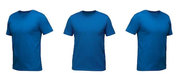 青いノースリーブtシャツ。白い背景の上の3つの位置のtシャツ正面図