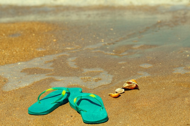 Blue slippers stand on the sand on the seashore
