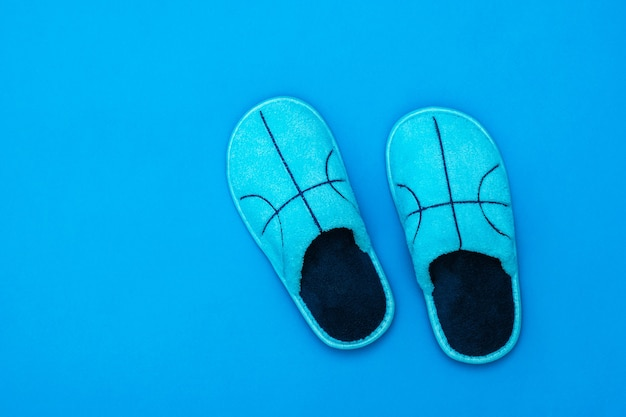 Blue slippers with embroidery on a blue surface. comfortable home shoes. flat lay. color trend.